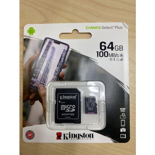 Kingston 64GB Mirco Sd kaart + adapter