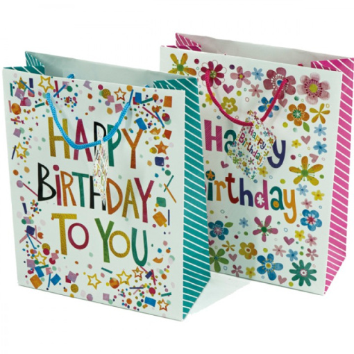 Geschenktas Happy Birthday 23x18CM